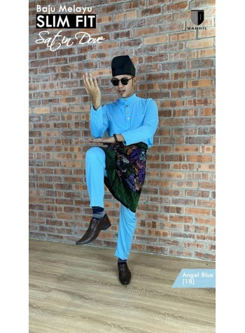 Baju Melayu Satin Dove Slimfit - Angel Blue