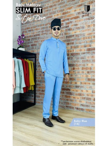Baju Melayu Satin Dove Slimfit - Baby Blue