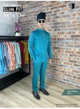 Baju Melayu Satin Dove Slimfit - Jed Green