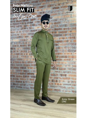 Baju Melayu Satin Dove Slimfit - Army Green